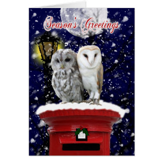 Season s Greetings Holiday Card With Winter Owl s