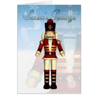 Season s Greetings Nutcracker Soldier Card