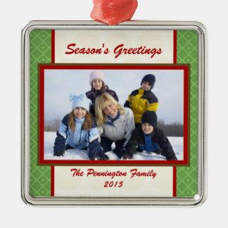Season s greetings personalized photo ornament