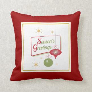 Season s Greetings Retro Style Christmas Pillow