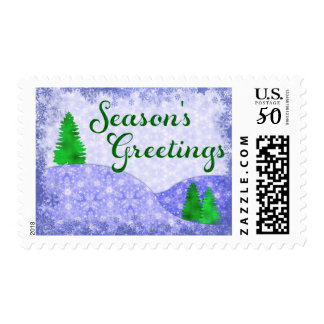 Season's Greetings Snowflakes & Trees Postage