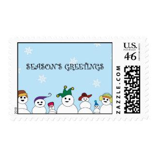 Season s Greetings Snowmen Stamp