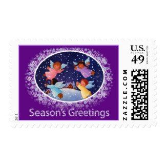 Season's Greetings Stamp  Purple