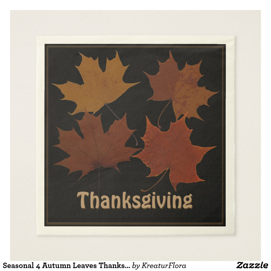 Seasonal 4 Autumn Leaves Thanksgiving Custom Text