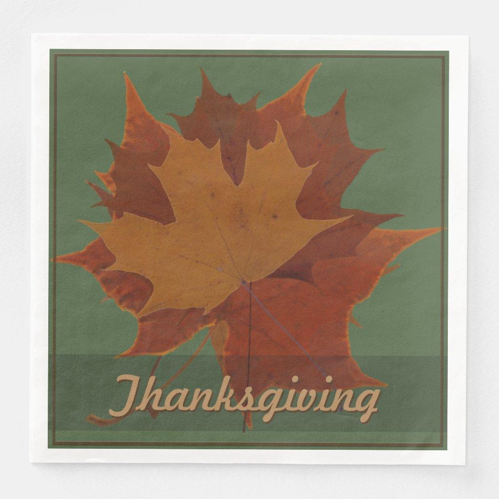 Seasonal Autumn Leaves Thanksgiving Custom Text