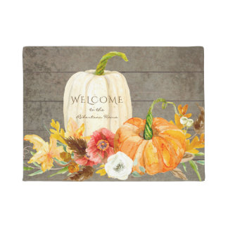 Seasonal Fall Harvest Welcome Sign Family Pumpkins Doormat