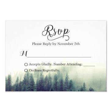 CardHunter Seasonal Forest Pine Trees Elegant Wedding RSVP Card
