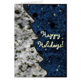 Seasonal Granite Rock Texture Blue Happy Holidays