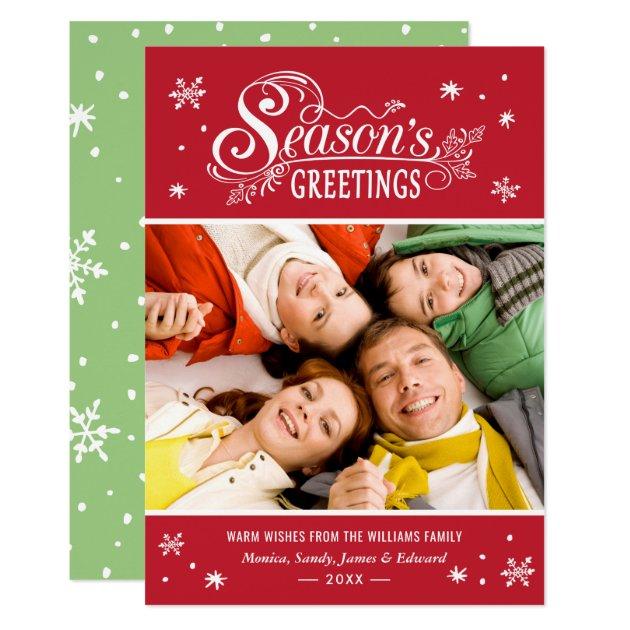 Seasonal Greetings Merry Christmas Holiday Photo Card (front side)