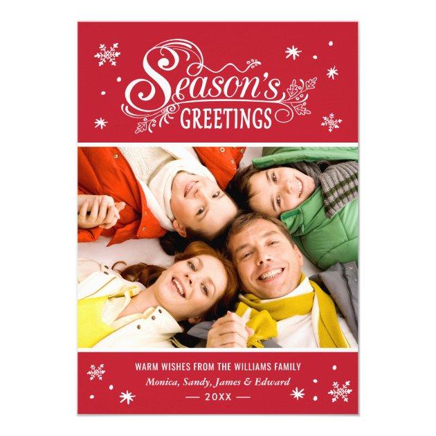 Seasonal Greetings Merry Christmas Holiday Photo Card (back side)