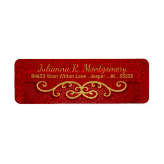 Seasonal Holiday Red and Gold in a Damask Label