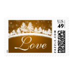 Seasonal Love In Winter Wedding Gold White Postage