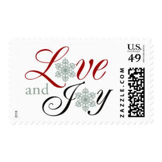 Seasonal Love Joy Winter Wedding Snowflakes Postage