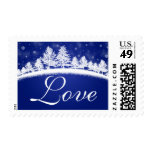 Seasonal Love Winter Wedding Blue White Stamp