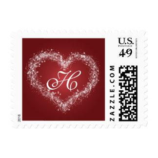 Seasonal Monogram H Winter Wedding Stamps
