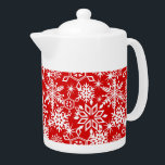 """Seasonal Snowflakes Red Teapot<br><div class=""""desc"""">Various shapes and sizes of white snowflakes on a background of red.</div>"""