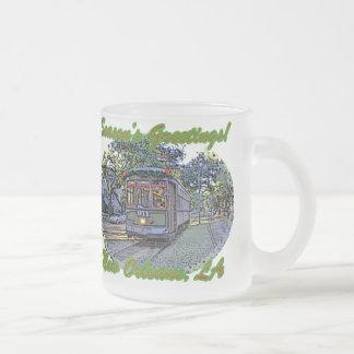Seasonal St. Charles Streetcar Frosted Glass Coffee Mug