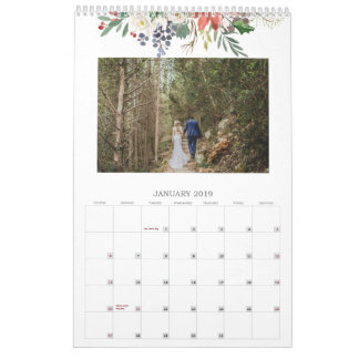 Seasonal Watercolor Foliage Monthly Photo Calendar