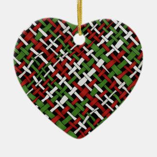 Seasonal Woven Colorful Graphical Burlap Ceramic Ornament