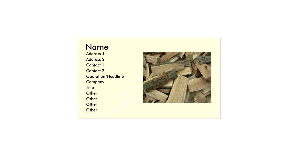 Seasoned firewood business card zazzle for Firewood business cards