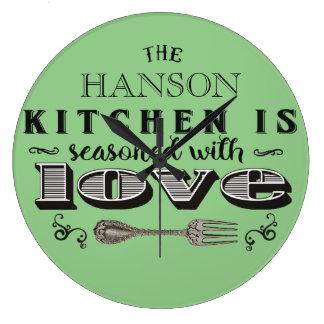 Seasoned with love custom kitchen design large clock