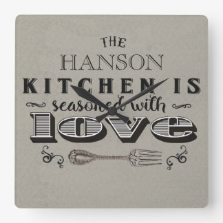 Seasoned with love custom kitchen design square wall clock