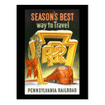 Season's Best Way To Travel Pennsylvania Railroad Post Cards