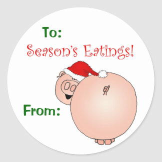 Season's Eatings Pig gift tag. Classic Round Sticker