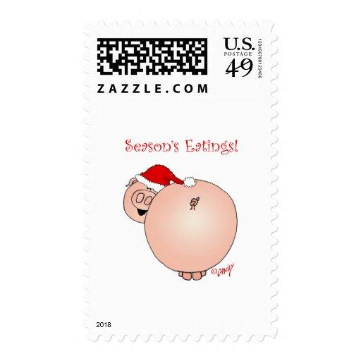 Season's Eatings Pig! Postage Stamps