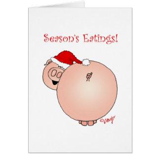 Season's Eatings Pig! Season's Greetings card. Card