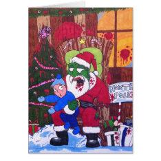 Season's Eatings Zombie Santa Card at Zazzle