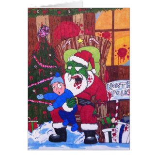 Season's Eatings Zombie Santa Greeting Card