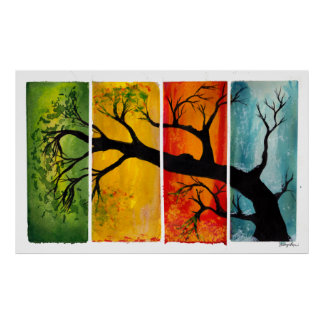 Seasons - Fine Art Poster from watercolor and ink