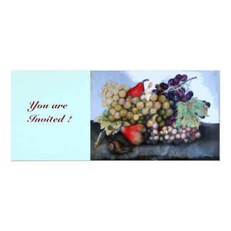 SEASON'S FRUITS 1 - GRAPES AND PEARS 4X9.25 PAPER INVITATION CARD