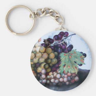 SEASON'S FRUITS 1 - GRAPES AND PEARS BASIC ROUND BUTTON KEYCHAIN