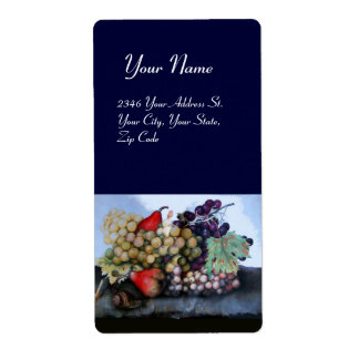 SEASON'S FRUITS 1 - GRAPES AND PEARS blue Shipping Label