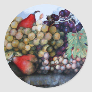 SEASON'S FRUITS 1 - GRAPES AND PEARS CLASSIC ROUND STICKER