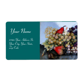 SEASON'S FRUITS 1 - GRAPES AND PEARS green Shipping Label