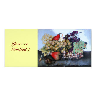 SEASON'S FRUITS 1 - GRAPES AND PEARS PERSONALIZED INVITATIONS
