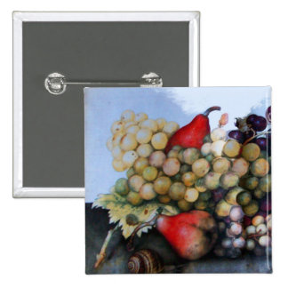 SEASON'S FRUITS 1 - GRAPES AND PEARS PINBACK BUTTON