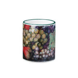 SEASON'S FRUITS 1 - GRAPES AND PEARS RINGER COFFEE MUG