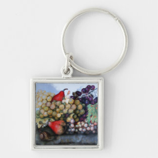 SEASON'S FRUITS 1 - GRAPES AND PEARS Silver-Colored SQUARE KEYCHAIN