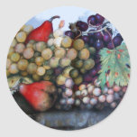 SEASON'S FRUITS 1 - GRAPES AND PEARS ROUND STICKERS