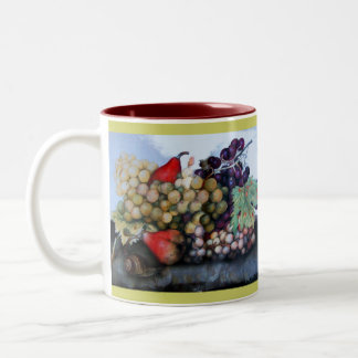 SEASON'S FRUITS 1 - GRAPES AND PEARS Two-Tone COFFEE MUG