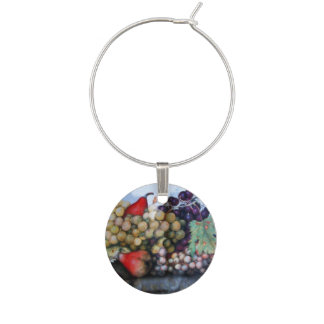 SEASON'S FRUITS 1 - GRAPES AND PEARS WINE GLASS CHARM