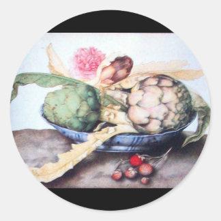 SEASON'S FRUITS 4- ARTICHOKES, ROSE & STRAWBERRIES CLASSIC ROUND STICKER