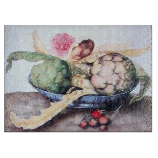 SEASON'S FRUITS 4- ARTICHOKES, ROSE & STRAWBERRIES CUTTING BOARD