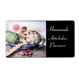 SEASON'S FRUITS 4- ARTICHOKES, ROSE & STRAWBERRIES SHIPPING LABEL