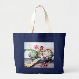SEASON'S FRUITS 4- ARTICHOKES, ROSE & STRAWBERRIES LARGE TOTE BAG