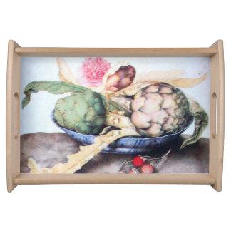 SEASON'S FRUITS 4- ARTICHOKES, ROSE & STRAWBERRIES SERVING TRAY